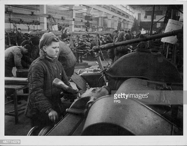 Female factory worker aiding the Russian war effort during World War Two, Stalingrad, Russia, circa 1939-1945.