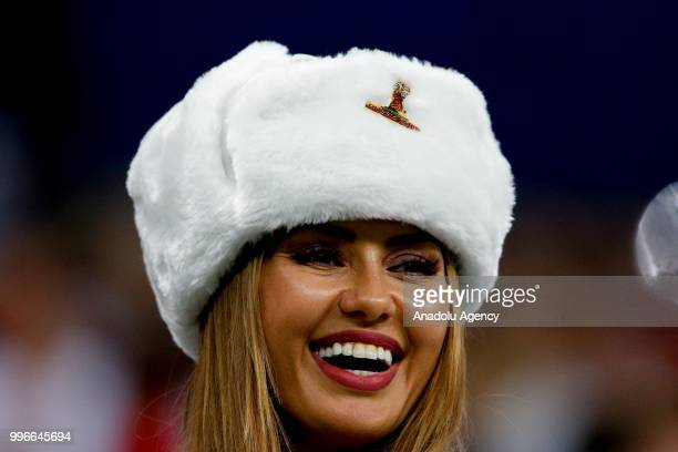 A female fan gestures during the 2018 FIFA World Cup Russia semi final match between Croatia and England at the Luzhniki Stadium in Moscow Russia on...