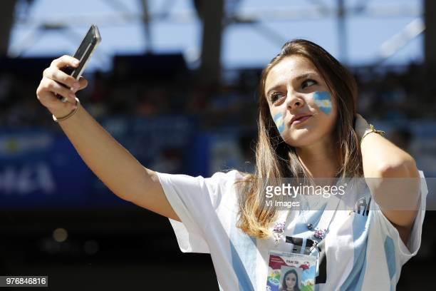 female fan of Argentina takes a selfie during the 2018 FIFA World Cup Russia group D match between Argentina and Iceland at the Spartak Stadium on...