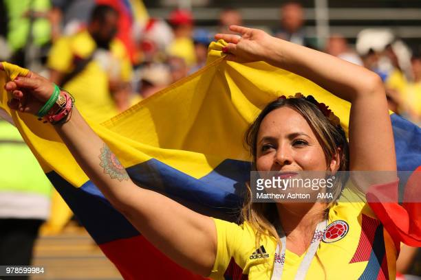 A female fan of Colombia looks on during the 2018 FIFA World Cup Russia group H match between Colombia and Japan at Mordovia Arena on June 19 2018 in...