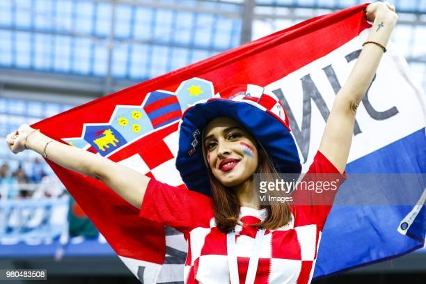 Female fan of Croatia during the 2018 FIFA World Cup Russia group D match between Argentina and Croatia at the Novgorod stadium on June 21 2018 in...