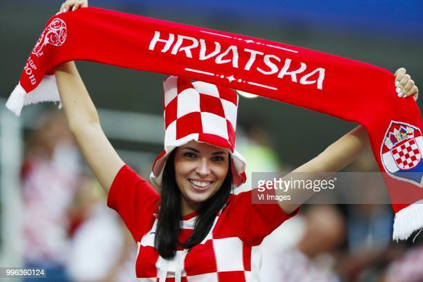 Female fan of Croatia during the 2018 FIFA World Cup Russia Semi Final match between Croatia and England at the Luzhniki Stadium on July 01 2018 in...