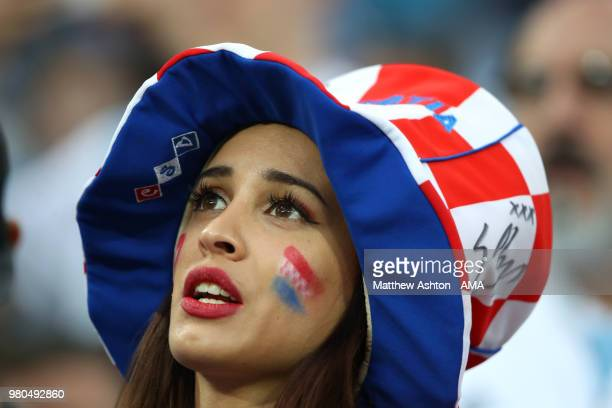 A female fan of Croatia looks on prior to the 2018 FIFA World Cup Russia group D match between Argentina and Croatia at Nizhny Novgorod Stadium on...
