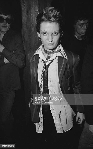 A female fan of English punk band the Buzzcocks wearing chains at the Ranch Club in Manchester England on July 22 1977