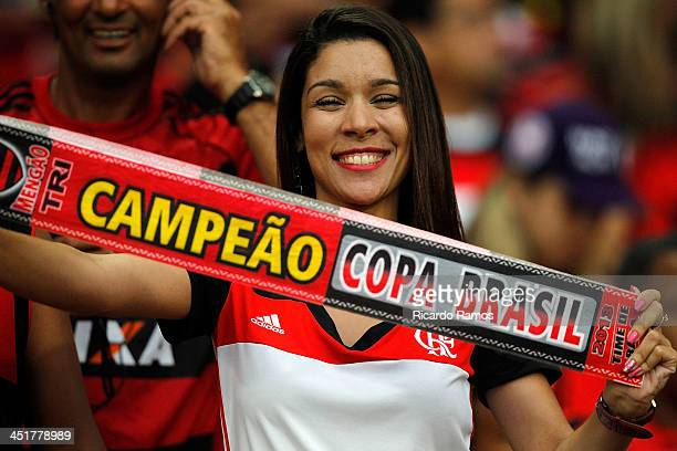 Female fan of Flamengo during the match between Flamengo and Corinthians for the Brazilian Series A 2013 at Maracana on November 24 2013 in Rio de...