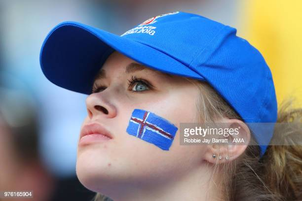 A female fan of Iceland looks on during the 2018 FIFA World Cup Russia group D match between Argentina and Iceland at Spartak Stadium on June 16 2018...