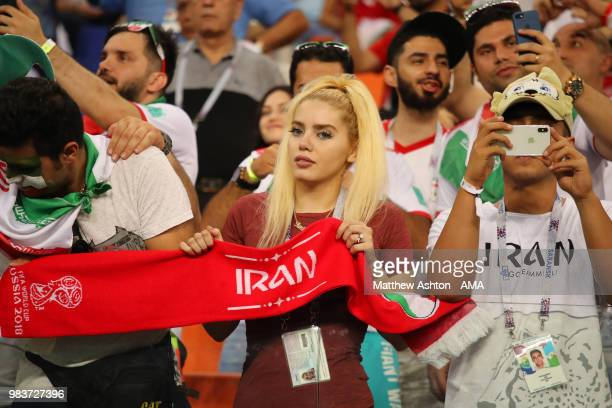 A female fan of Iran shows her support prior to the 2018 FIFA World Cup Russia group B match between Iran and Portugal at Mordovia Arena on June 25...
