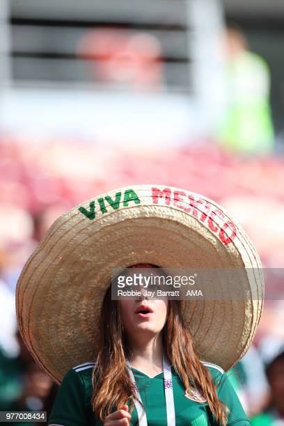 A female fan of Mexico looks on prior to the 2018 FIFA World Cup Russia group F match between Germany and Mexico at Luzhniki Stadium on June 17 2018...