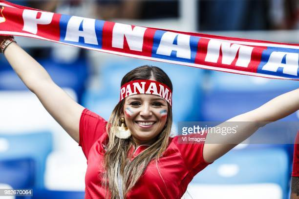 Female fan of Panama during the 2018 FIFA World Cup Russia group G match between England and Panama at the Nizhny Novgorod stadium on June 24 2018 in...