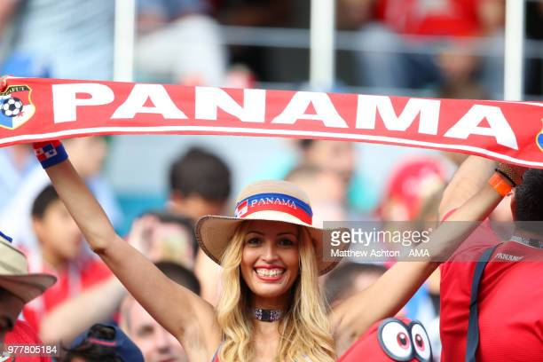 A female fan of Panama looks on prior to the 2018 FIFA World Cup Russia group G match between Belgium and Panama at Fisht Stadium on June 18 2018 in...