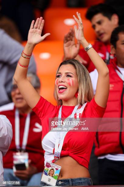 A female fan of Peru looks on during the 2018 FIFA World Cup Russia group C match between France and Peru at Ekaterinburg Arena on June 21 2018 in...
