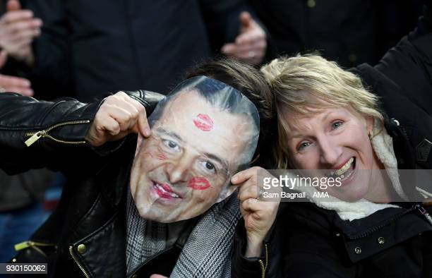 A female fan of Wolverhampton Wanderers with Jorge Mendes mask during the Sky Bet Championship match between Aston Villa and Wolverhampton Wanderers...
