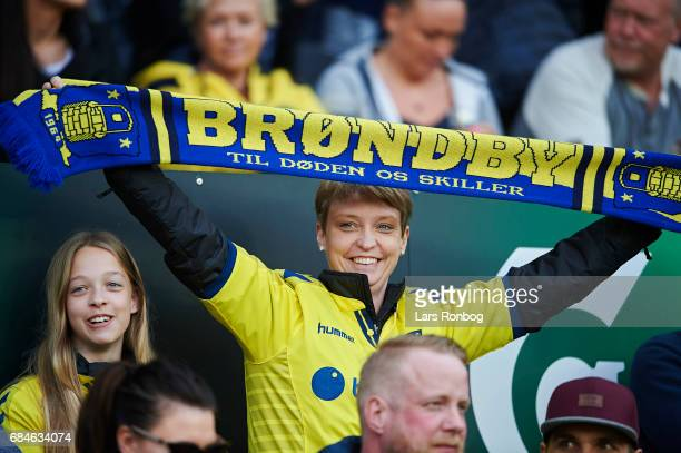 Female fans waiting for the game to start prior to the Danish Alka Superliga match between Brondby IF and Lyngby BK at Brondby Stadion on May 18 2017...