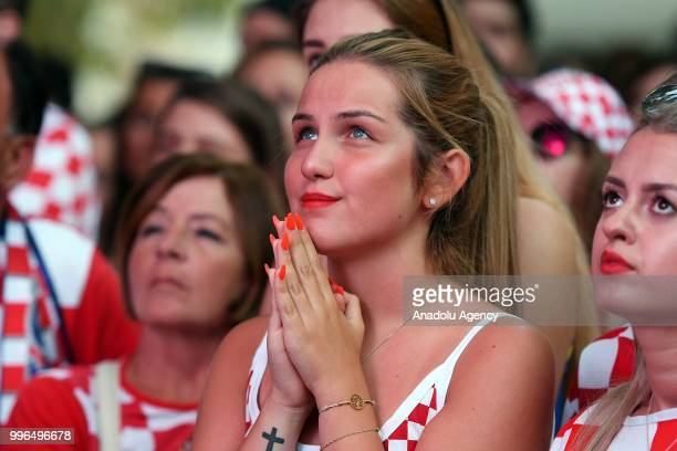 Female fans watch 2018 FIFA World Cup Russia Semi Final match between Croatia and England during a public viewing event on July 11 2018 in Split...