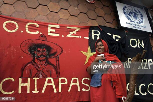 A female farmer member of the Organizacion Campesina Emiliano Zapata during a demonstration in front of the United Nations local office in San...