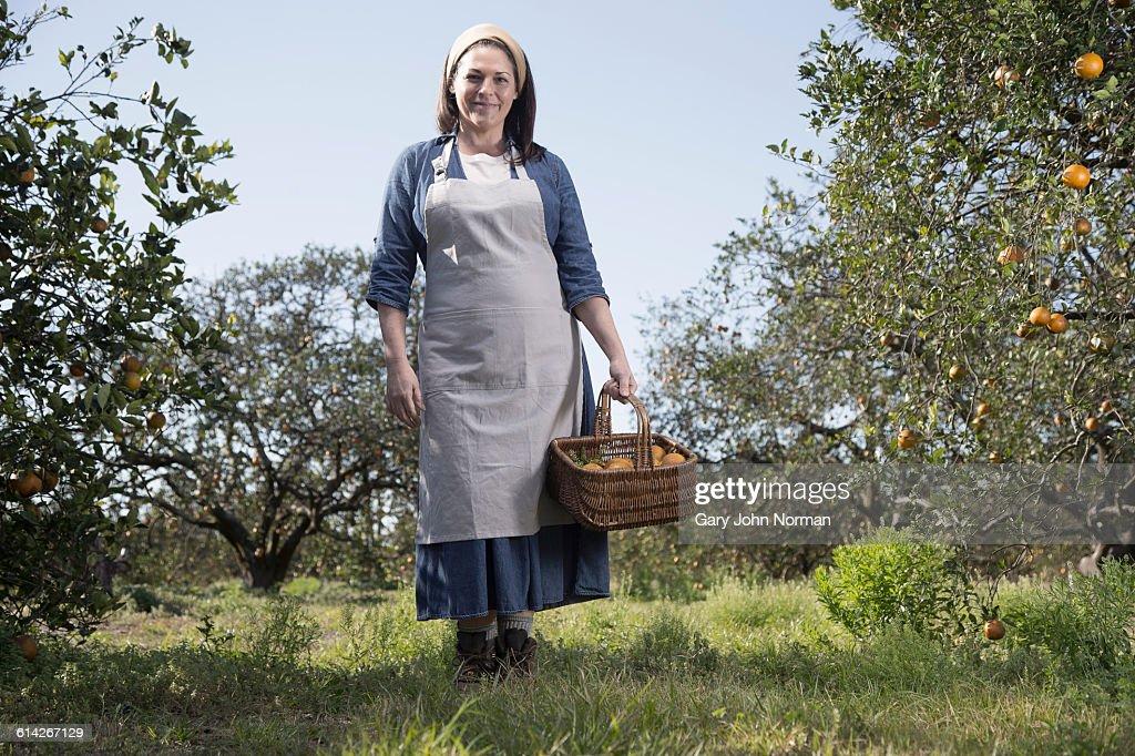 Female farmer standing in orange orchard : Stock Photo
