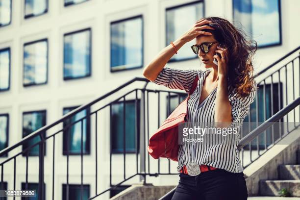 female fashion blogger in munich, germany - blouse imagens e fotografias de stock