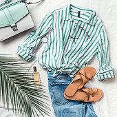 Female fashion clothes flat lay, square
