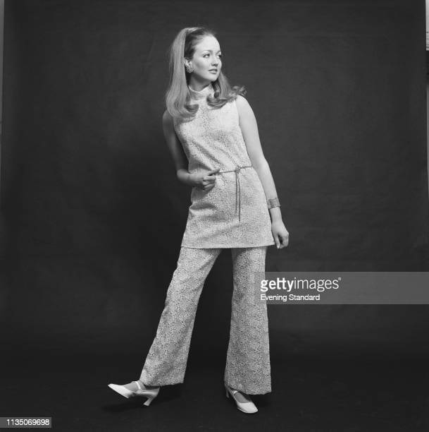 Female fashion model tunic embroidered tunic top and matching embroidered with Mary Jane shoes, UK, 7th April 1969.