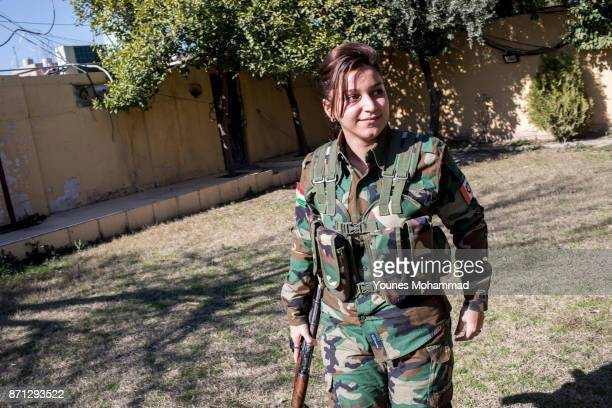 A Female fighter belonging to Kurdistan Freedom Party waits to go back to the frontline at their political base in Erbil Iraq on 18 February 2017 PAK...