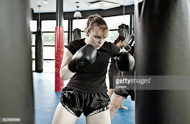 Female fighter during training session