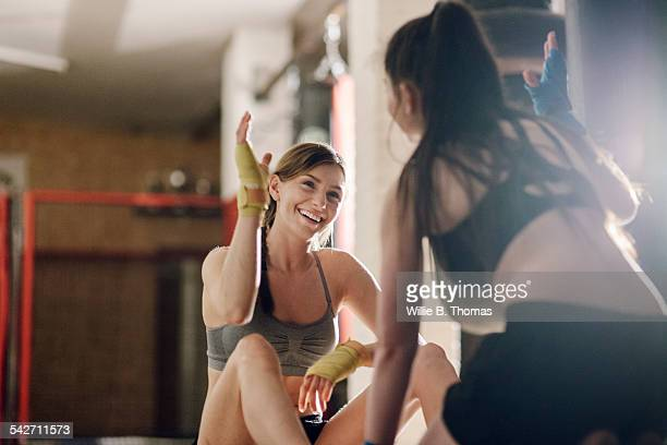 Female fighter successfully completing training