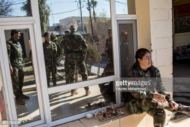 Female fighters belonging to Kurdistan Freedom Party wait to go back to the frontline at their political base in Erbil Iraq on 18 February 2017 PAK...