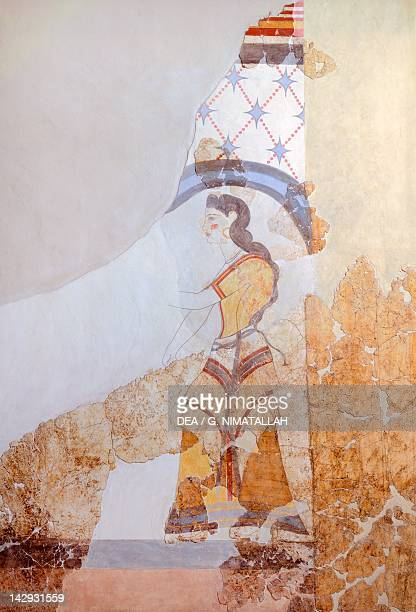 Female figure Akrotiri fresco Thera Minoan Civilization 16th Century BC