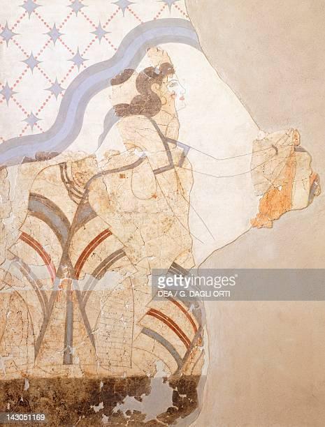 Female figure Akrotiri fresco Thera Minoan Civilization 16th Century BC Athens Ethnikó Arheologikó Moussío