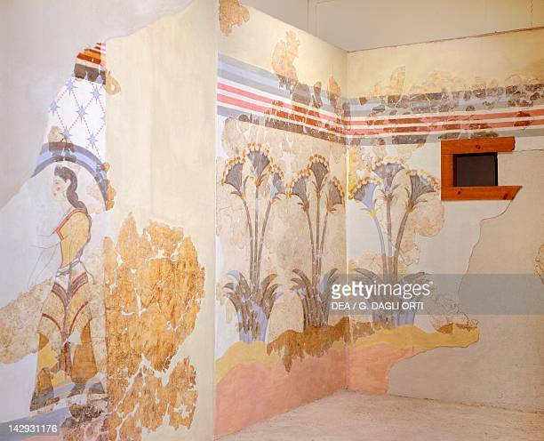 Female figure and decoration with lilies fresco from the room of great papyri palace of Dame of Akrotiri Thera Minoan Civilization 16th Century BC...