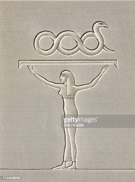 Female figure and snake, painted bas-relief, Dendera Temple complex, Egypt, engraving by Pomel after a drawing by Dutertre, from Description de...
