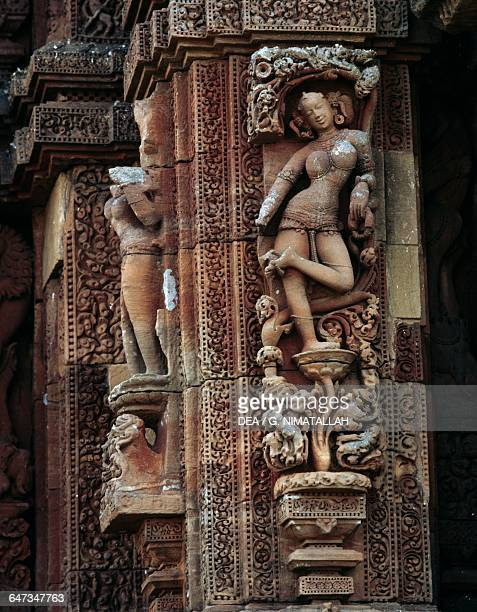 Female figure detail from the decorations of Rajarani Temple Hindu temple Bhubaneswar Orisha India 11th century