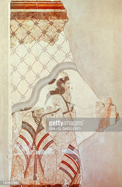 Female figure fresco from Akrotiri Thera Minoan Civilization 16th Century BC Athens Ethnikó Arheologikó Moussío