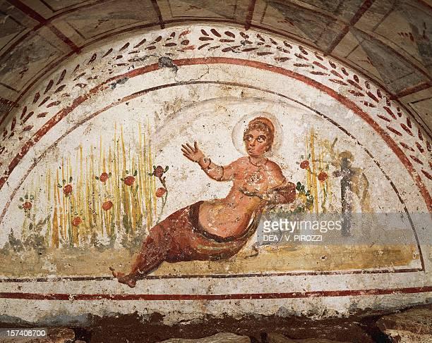 Female figure reclining fresco Via Latina Catacomb Rome Italy 4th century