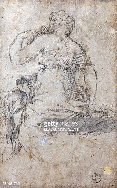Female figure Study for the Age of Silver fresco drawing by Pietro da Cortona Palatine Gallery Pitti Palace Florence Tuscany Italy 17th century...