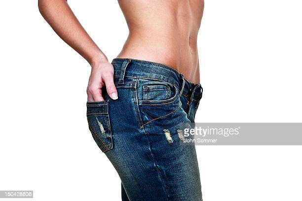 female figure wearing jeans - big bums stock photos and pictures