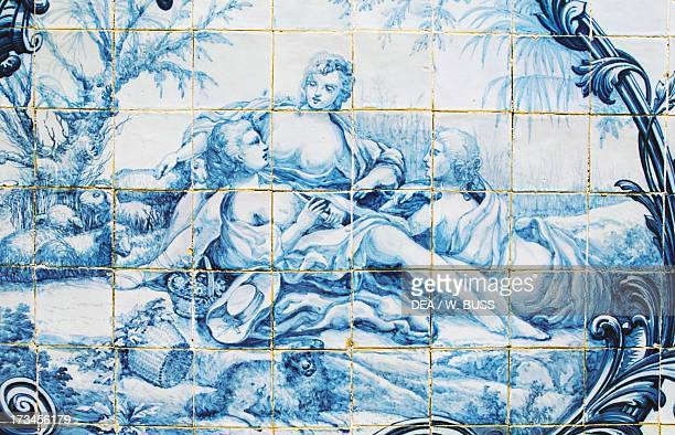 Female figures azulejos tiles Estoi Palace Estoi Faro district Algarve Portugal