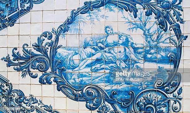 Female figures azulejos tiles Estoi Palace Estoi Faro district Algarve Portugal
