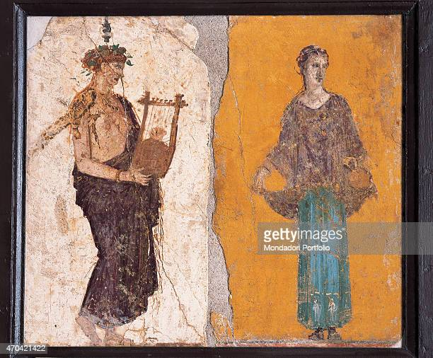 'Female Figures by unknown artist 4569 1st Century AD ripped fresco 32 x 43 cm Italy Campania Naples National Archaeological Museum Room LXXVII inv...