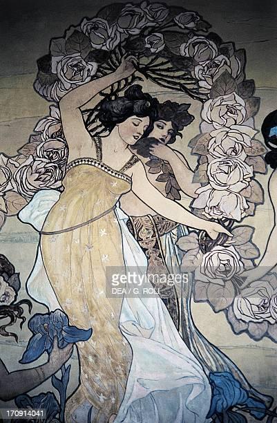 Female figures fresco by Ettore De Maria Bergler Hotel Villa Igiea Palermo Sicily Italy