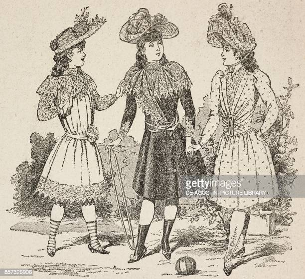 Female figures wearing short dresses and hats young women's fashion illustration from Il Secolo Illustrato della Domenica Year II No 41 July 13 1890