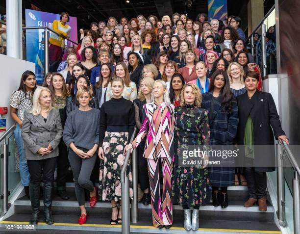 Female filmakers including Amanda Nevill Denise Gough Jessica Hynes Rosamund Pike Andrea Riseborough and Tricia Tuttle pose as BFI London Film...
