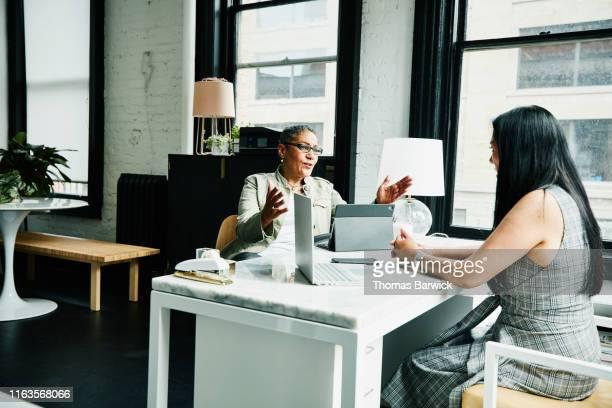 female financial advisor in discussion with mature female business owner at desk in office - finanzberuf stock-fotos und bilder