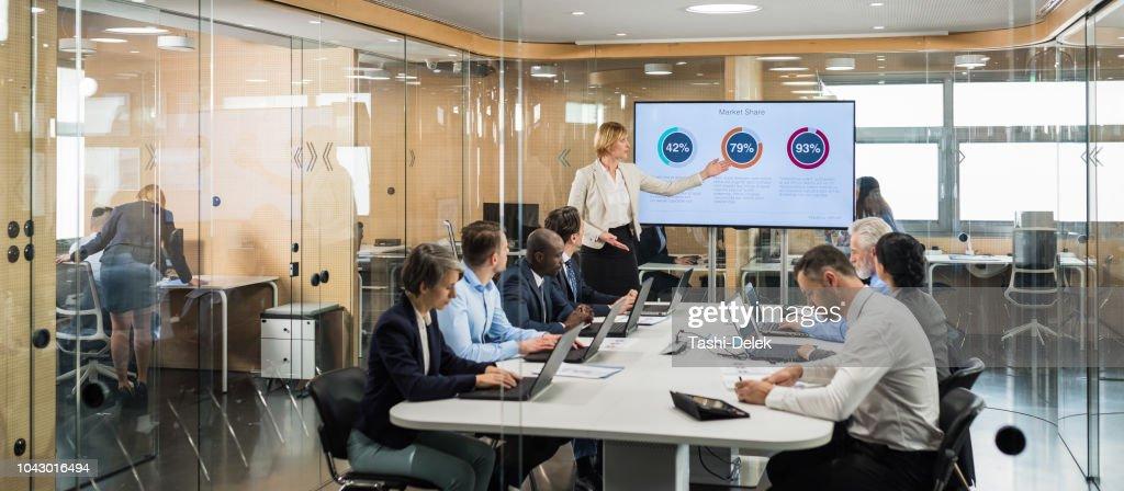 Analista financiero femenino dando presentación a miembros de la Junta : Foto de stock