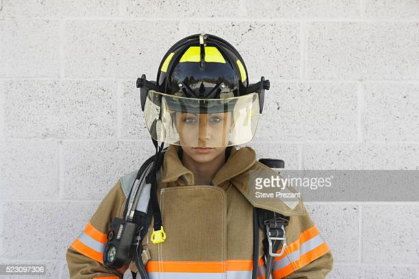 Female Firefighter in Uniform