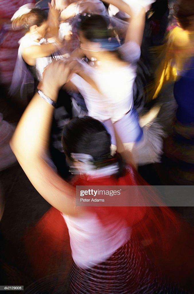 Female Flamenco Dancers, Blurred Motion : Stock Photo