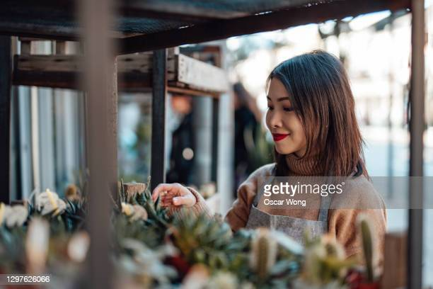 female florist taking care of plants at a plant shop - growth stock pictures, royalty-free photos & images