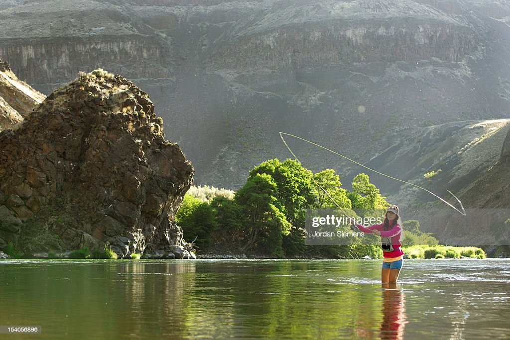A female fly fishing. : Stock Photo