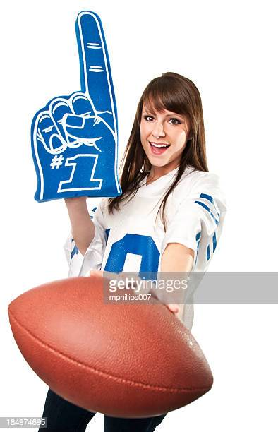 female football fan - foam finger stock photos and pictures