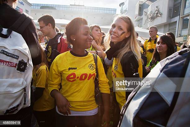 female football fans celebrating - dortmund city stock pictures, royalty-free photos & images